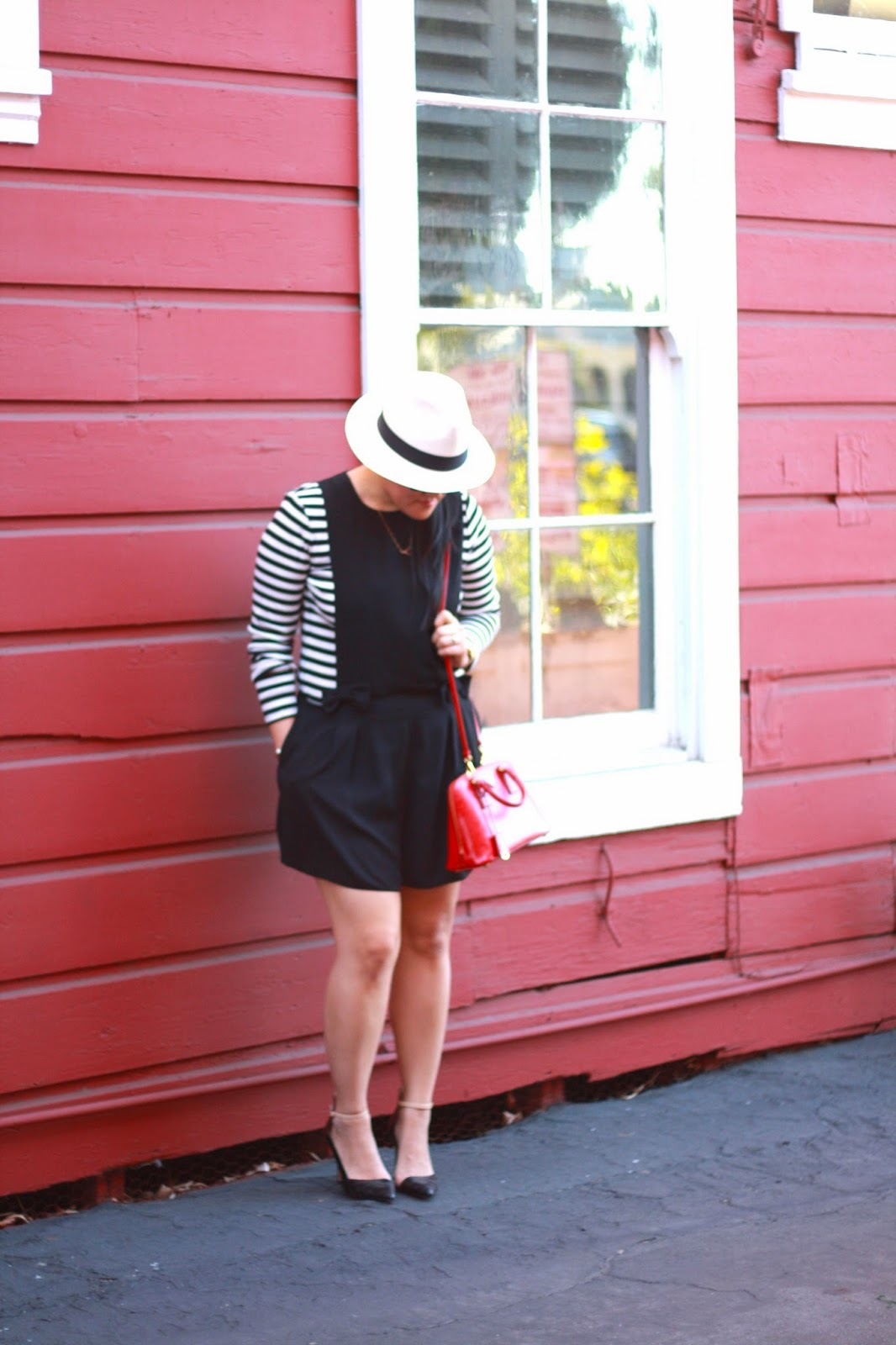 simplyxclassic, asos romper, loft stripe shirt, prada bag, jcrew panama hat, zara heels, style, ootd, parisian, blogger, california blogger