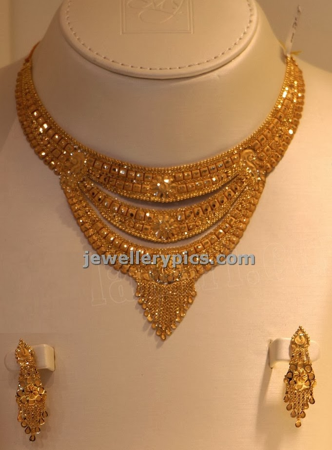Kolkatta design gold necklace with three simple steps - Latest ...