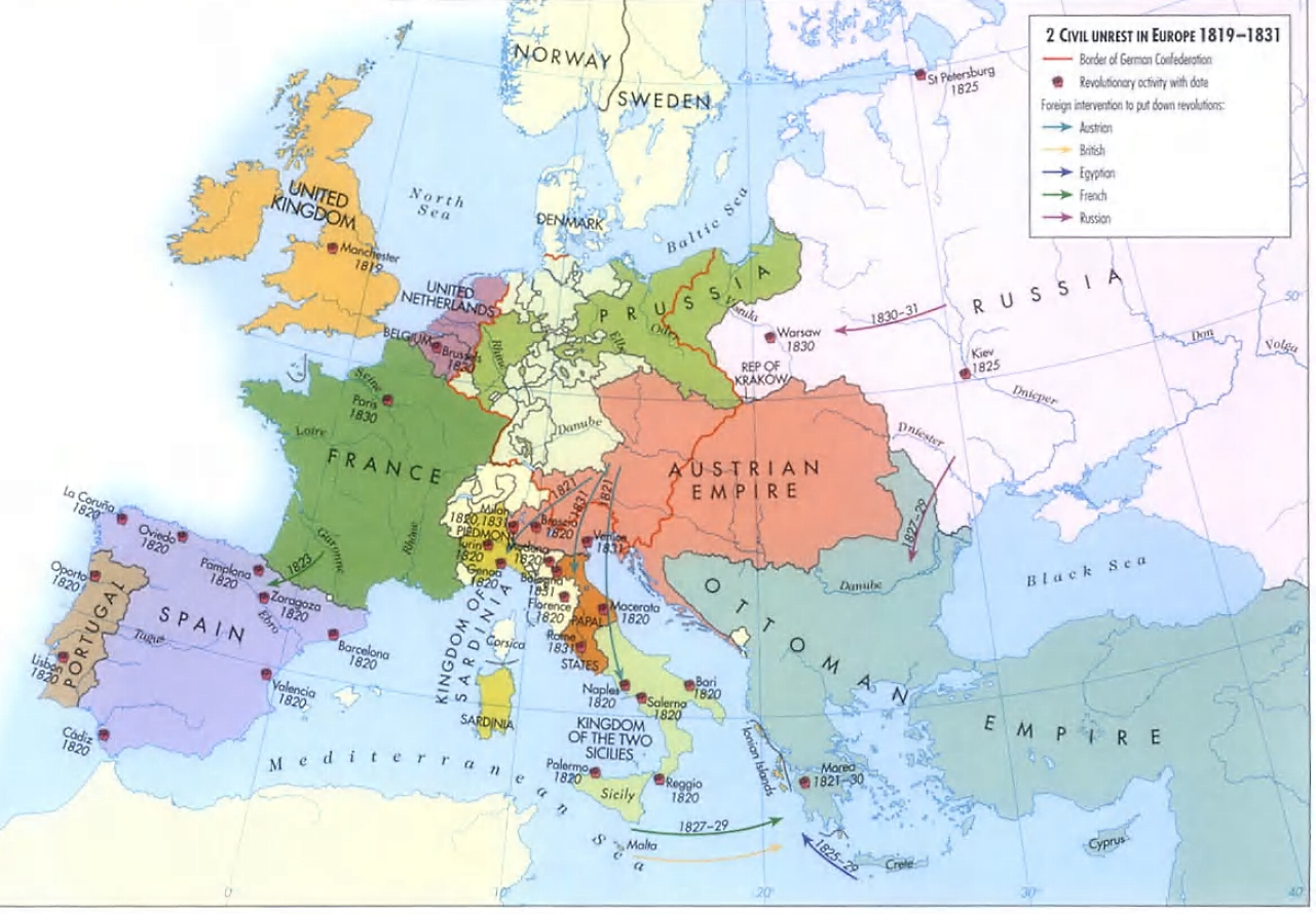 European Wars Of Insurrection 1830 50 Age Of Revolutions