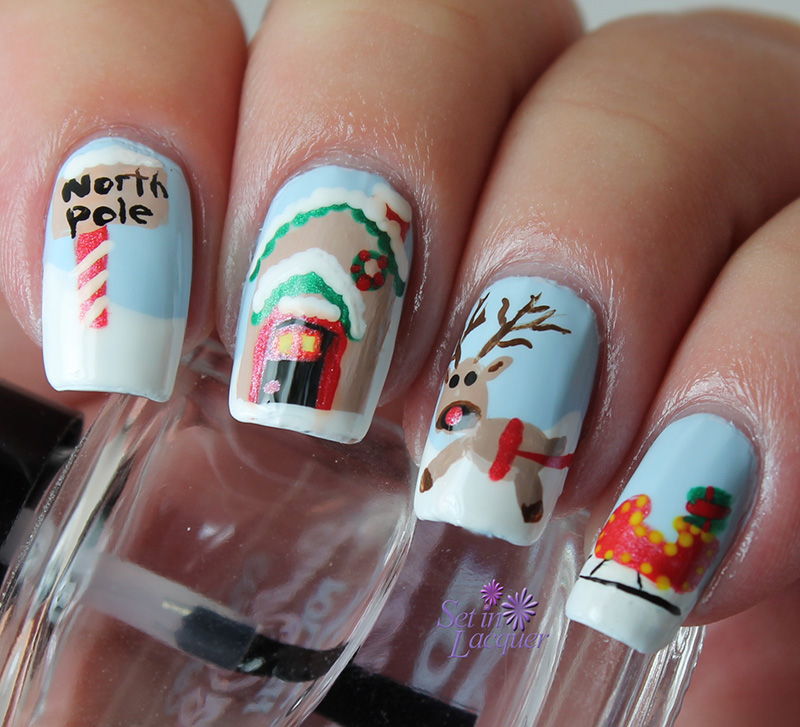 North Pole Christmas nail art