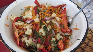 смесь овощей для корейского салата из цветной капусты