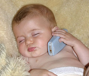 Sleeping Baby on Cell Phone