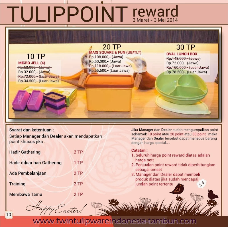 Point Reward Tulipware Maret-Mei 2014, Micro Jell, Maxi Square Fun, Oval Lunch Box