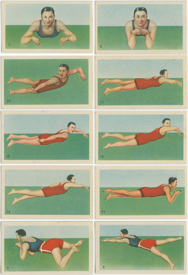 How to swim, aprender,nadar,cigarettes,cards,tarjetas,NYPL