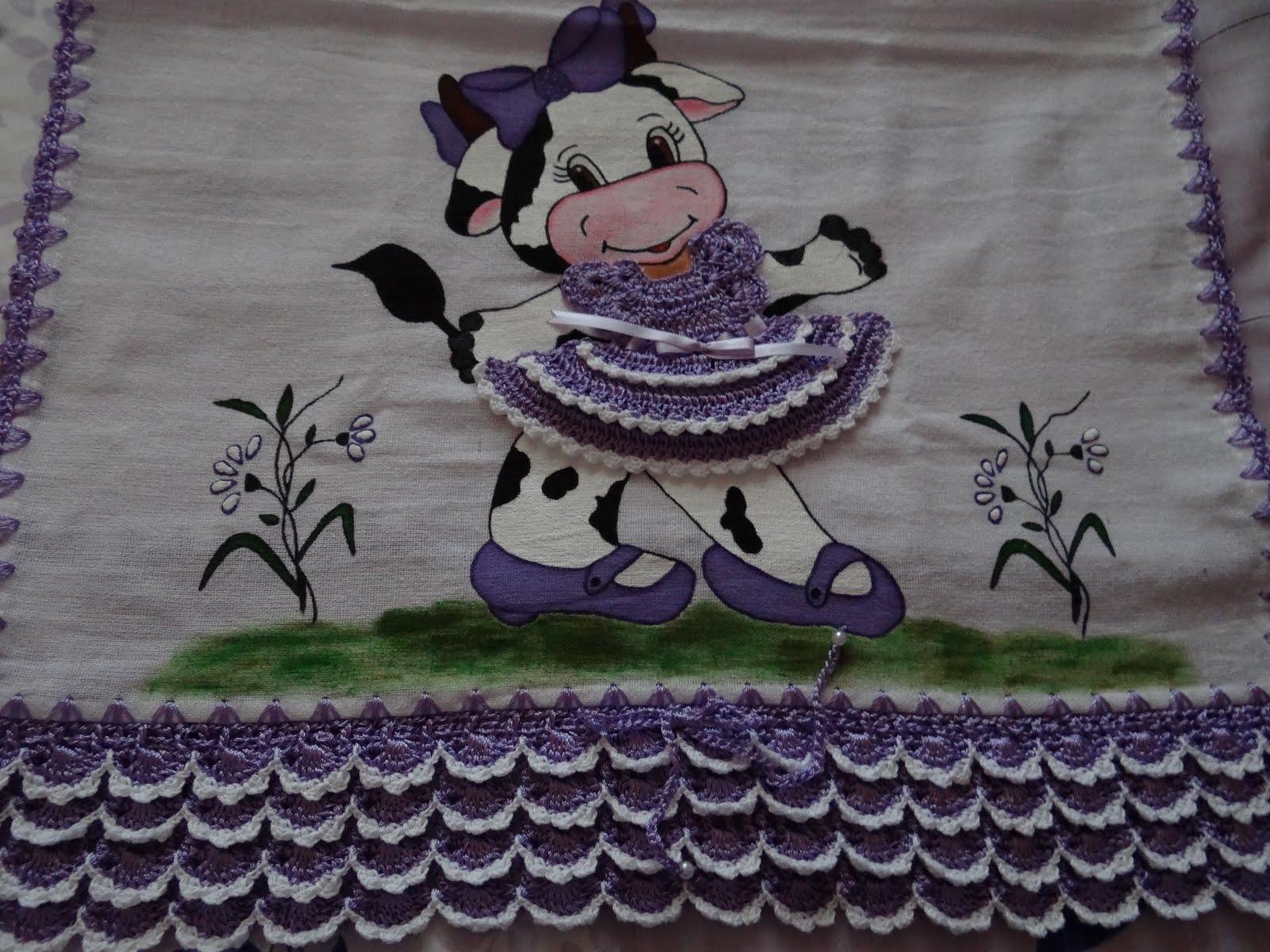 pano de prato vaquinha com vestidinho de croche