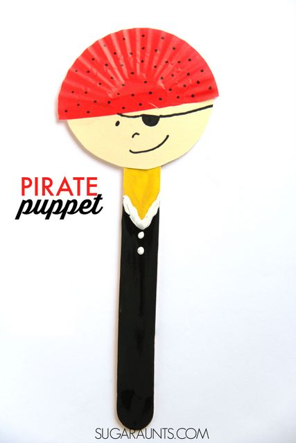 Pirate Puppet Craft for International Talk Like a Pirate Day (or any day!) Perfect for a Pirate theme party or lesson plan.