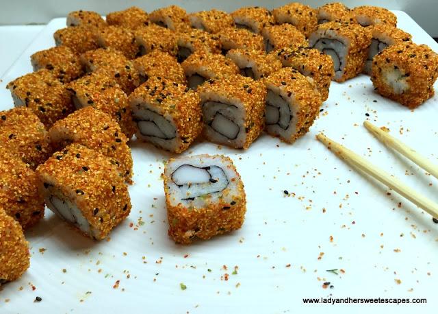 sushi rolls at Channels Media Rotana