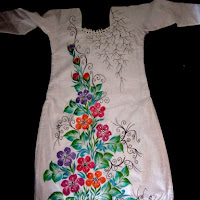 Free Hand Fabric Painting Dress Design In Sparkling Colours