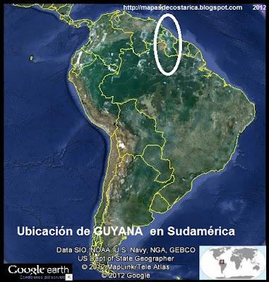Ubicación de GUYANA en Sudamérica, Google Earth