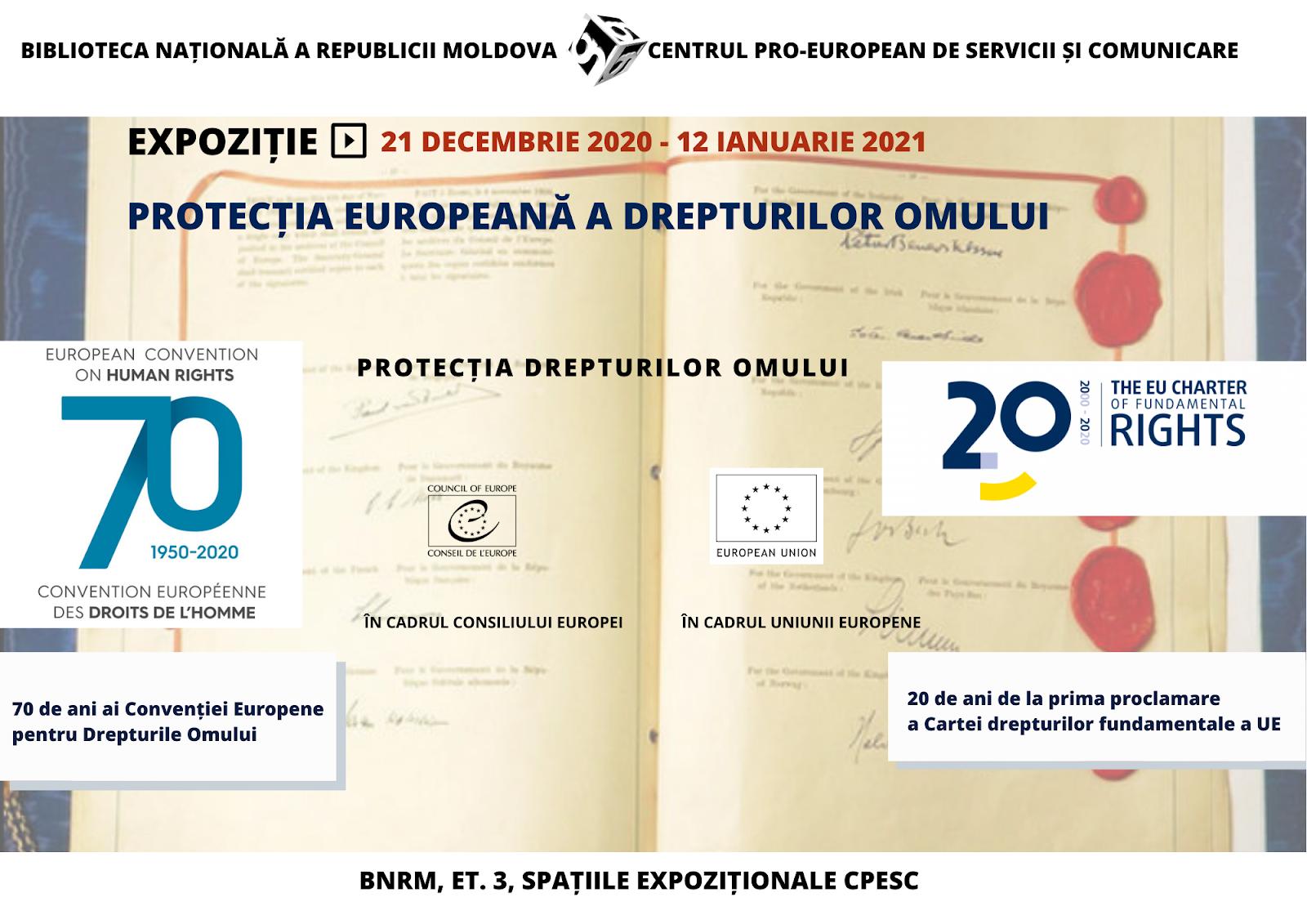 """Expoziție """"Protecția europeană a drepturilor omului"""""""