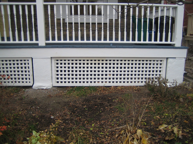We replaced the weathered lattice and put in new concrete pier blocks  title=