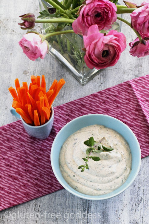 Creamy tofu vegan dip for spring veggies is non-dairy.