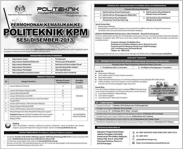 Permohonan Kemasukan Ke Politeknik KPM Sesi Disember 2013