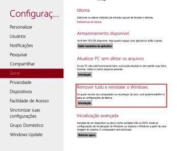 Configuração do Windows 8