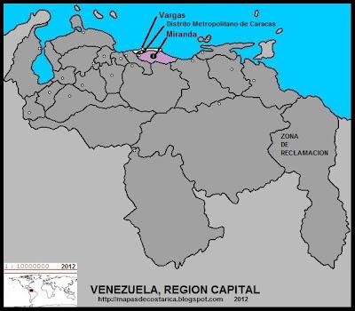 REGION CAPITAL, Mapa de las Regiones politico-administrativas de VENEZUELA
