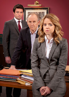 DOMINIC ROWAN as Jacob Thorne, PETER DAVISON as Henry Sharpe and GEORGIA TAYLOR as Kate Barker