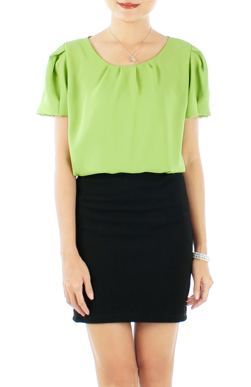 Tulip Sleeve Blouse with Pleat Detail