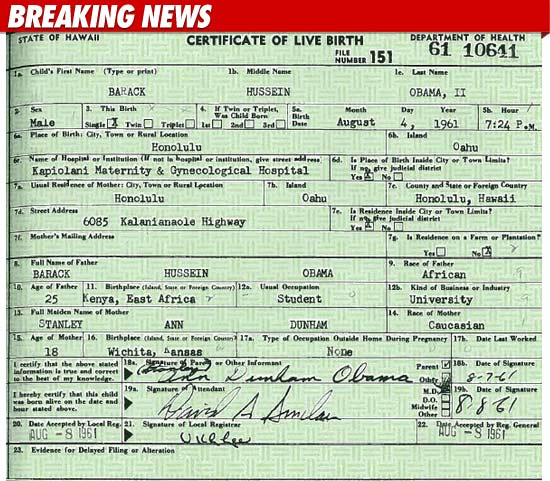 Obama\'s Birth Certificate | Notoriously Conservative