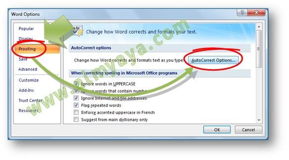 Gambar: Cara menampilkan opsi atau konfigurasi untuk AutoCorrect di Microsoft Word