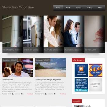 Stavrolino Magazine blogger template. free blogspot template magazine style