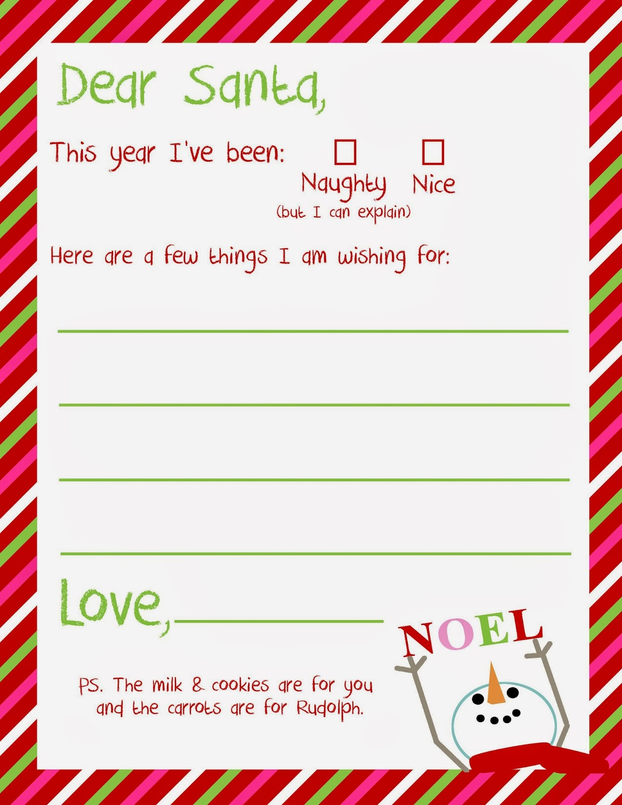 Free printable write a letter to santa