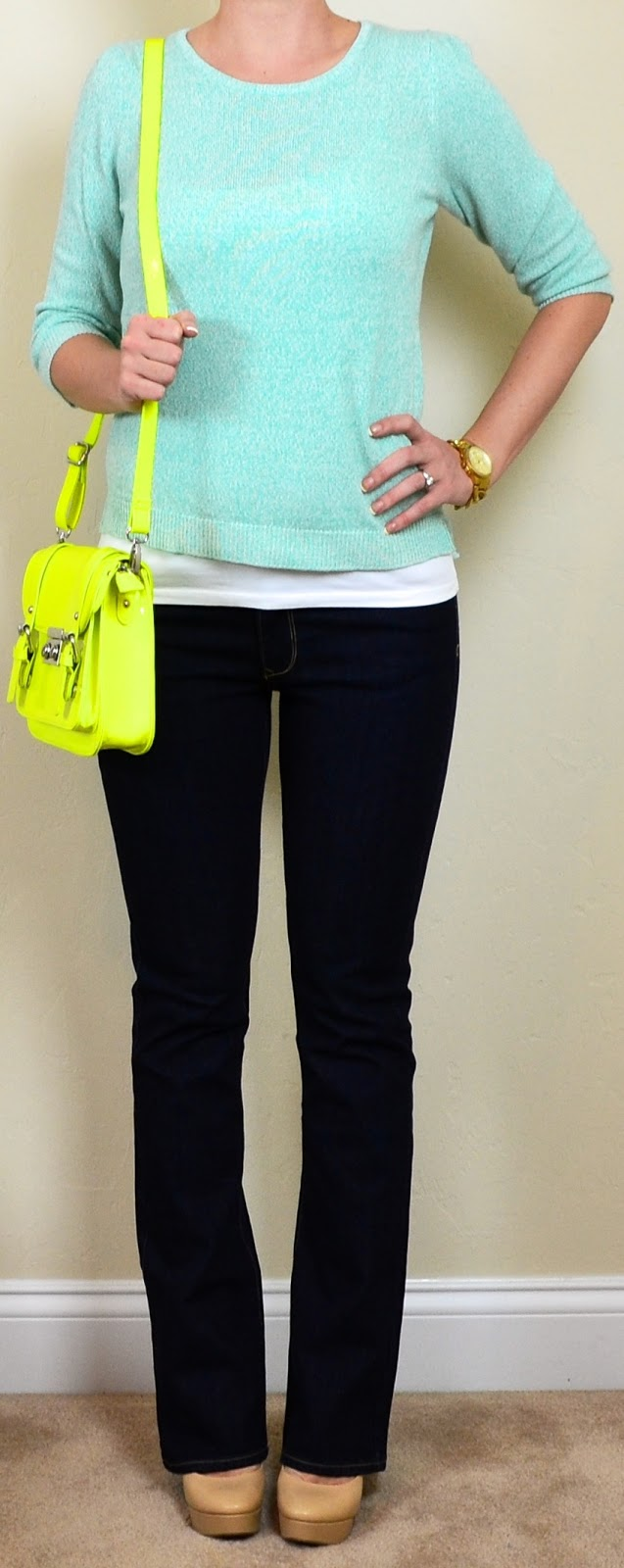 Outfit Posts outfit post dark wash bootcut jeans mint sweater neon yellow bag