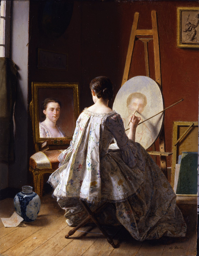 Women in the act of painting artist painting herself for Autoportrait miroir