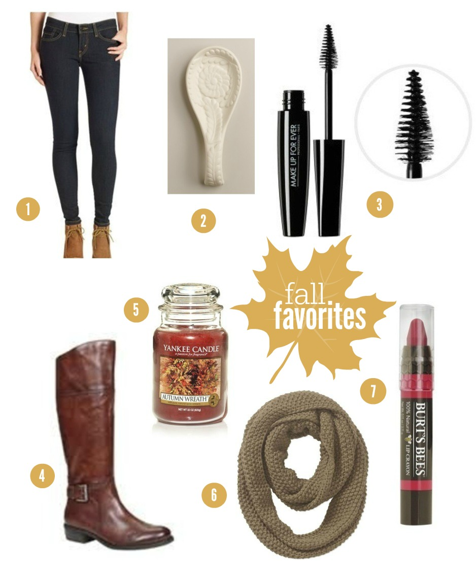 A Peachy Keen: Fall Favorites. Boots, Scarf, Candles, Tinted Lip Balm, Mascara, Spoon Rest, Jean Leggings