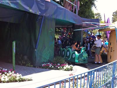 Alice Wonderland safety railing tarps Disneyland caterpillar leaves