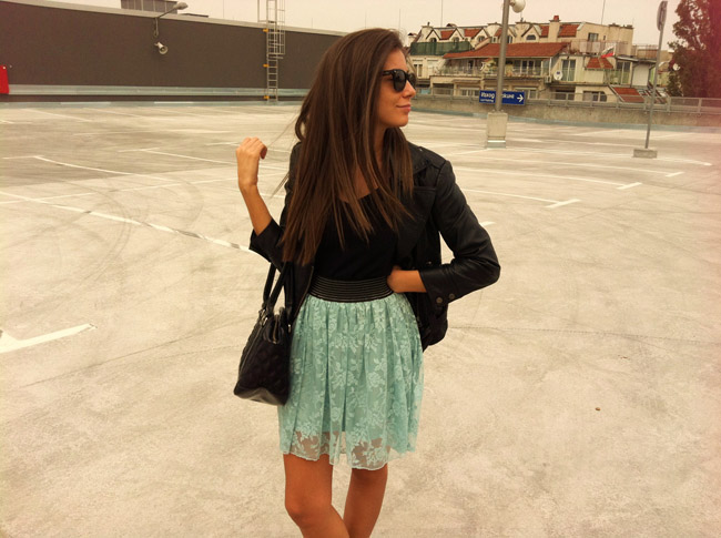 primark blue lace skirt, lace skirt blogger, how to wear lace skirts, topshop biker leather jacket blogger, leather jacket blog, i heart maya, asos black suede wedges, marc by marc jacobs quilted handbag blog