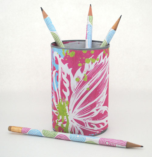 paper covered pencils and can