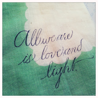 Calligraphic hand painted anniversary or wedding hankerchief Anne elser calligraphy