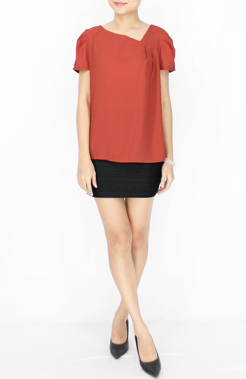 Mahogany Classic Diagonal V Neck Blouse with Side Pleat