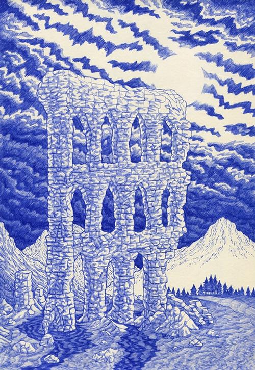 16-Ruin-Kevin-Lucbert-Ballpoint-Biro-Pen-Drawings-www-designstack-co