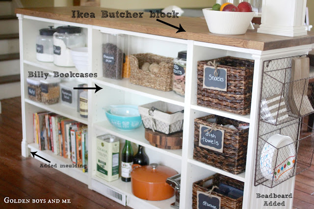 Ikea Kitchen Island Hack with Billy bookshelves and bead board by www.goldenboysandme.com