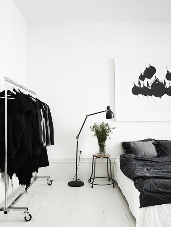 The scandinavian stark bedroom. Photo by Lotta Agaton.
