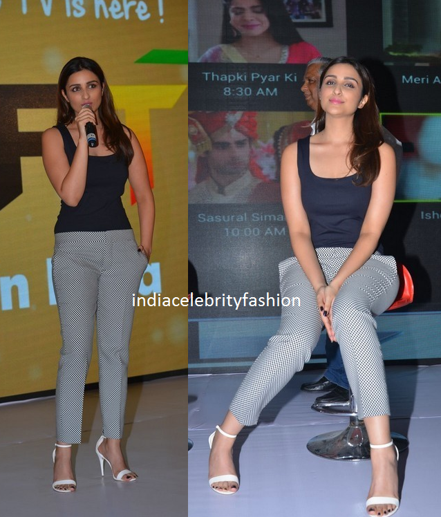 Parineeti Chopra in Black Top and Trousers at yupptv launch