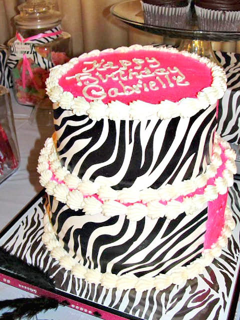 pink zebra spa party cake