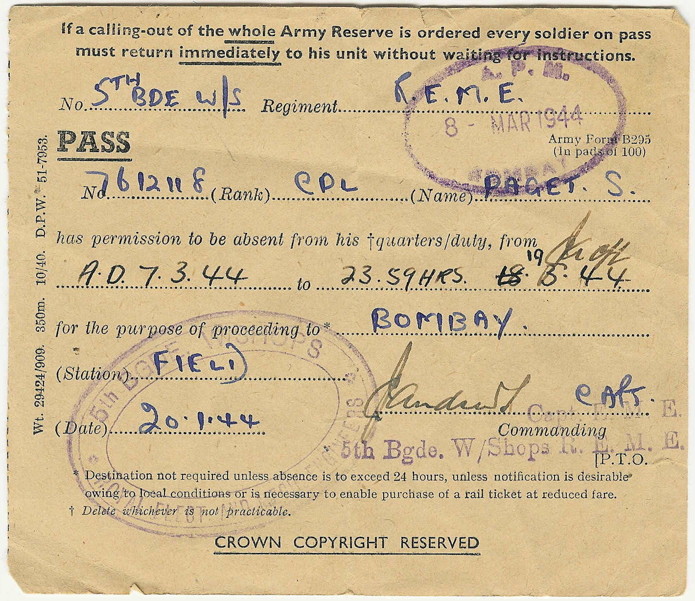 Pass to Bombay, India for Corporal Sid Paget