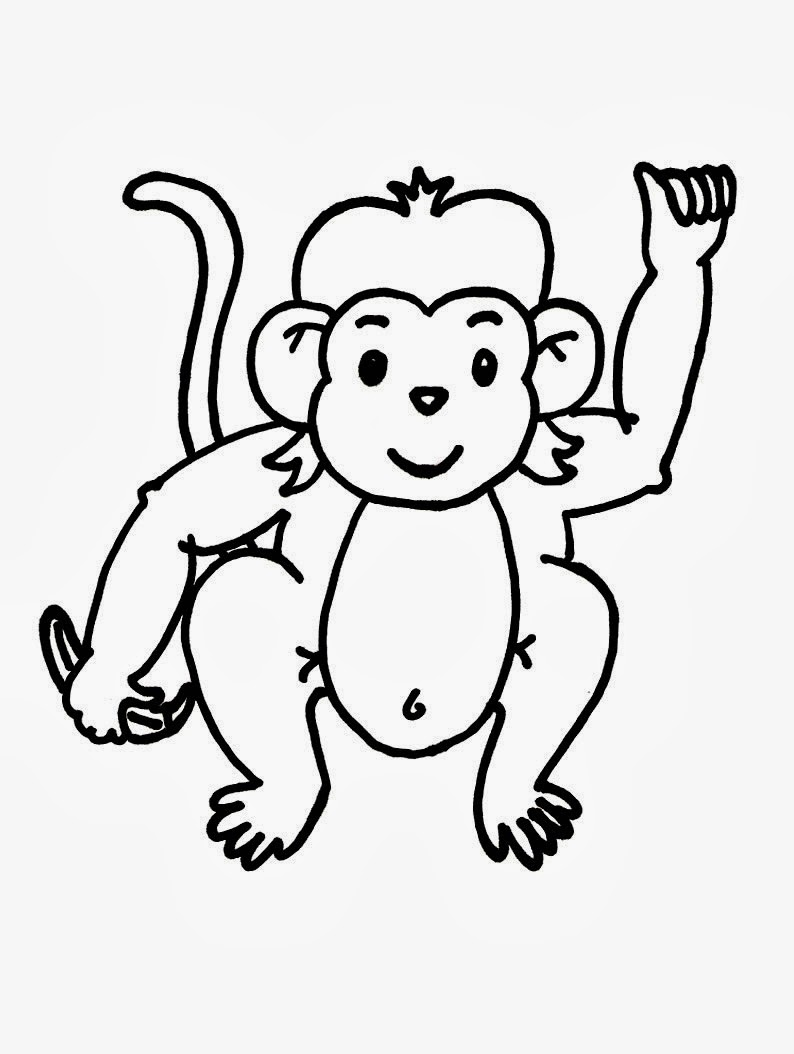 Kindergarten worksheet guide pictures clip art line for Baby monkey coloring pages