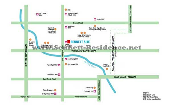 Sennett Residence Location Map