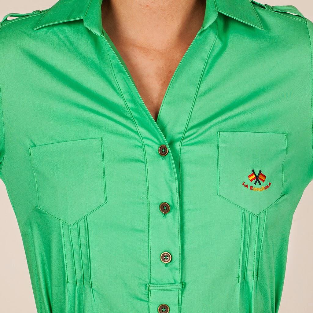 Detalle de vestido cuello camisero verde para mujer de Paco Cecilio