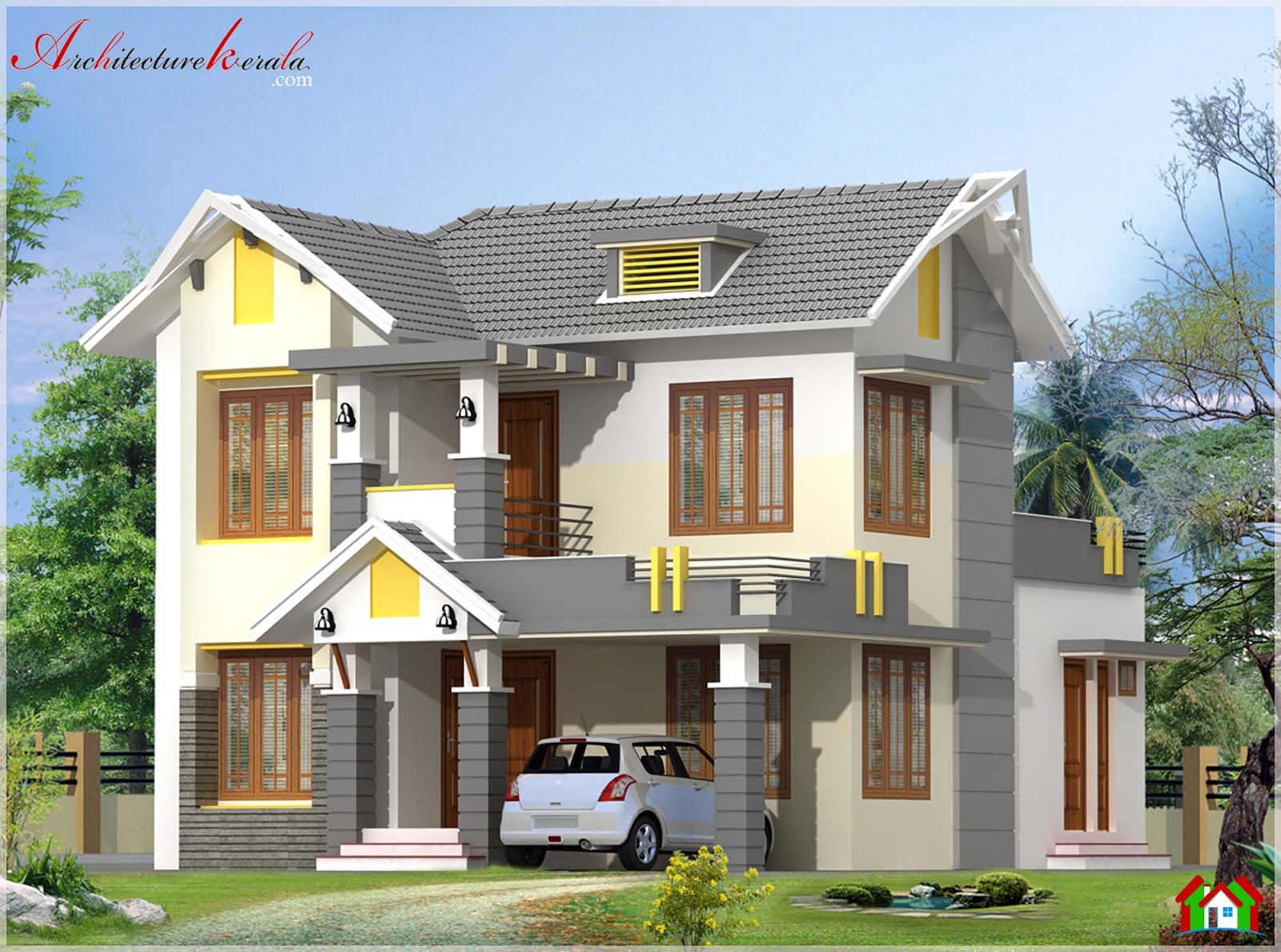Modern house elevation architecture kerala for Home design sites