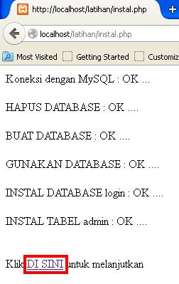 instalasi database mysql dari script php
