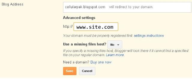 Blogger custom domain settings