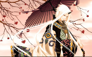 Tree Umbrella Kimono Horn Male Guy Anime HD Wallpaper Desktop PC Background 1898
