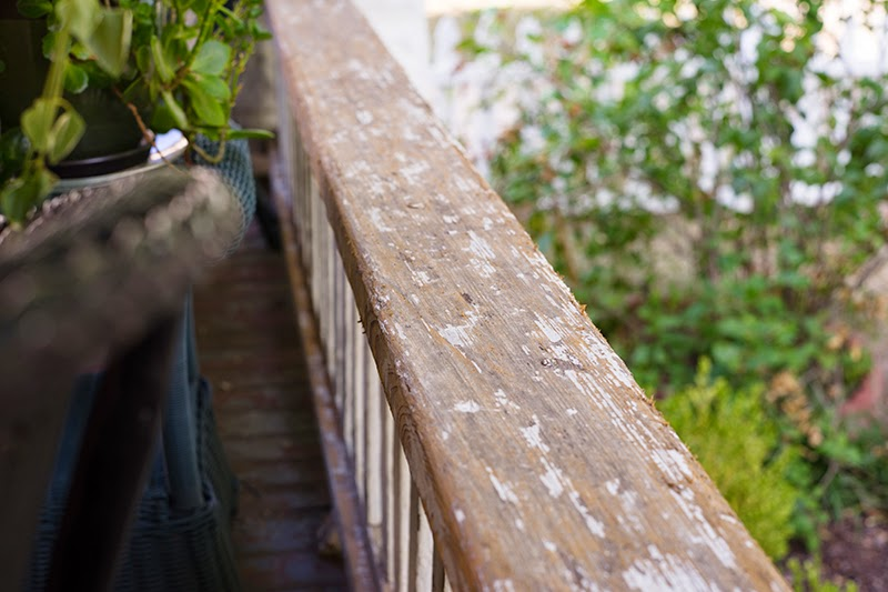 Scraping Porch Rail for Exterior Paint