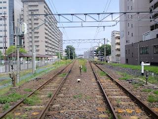 写真:踏切の真ん中から撮影した鉄道の線路