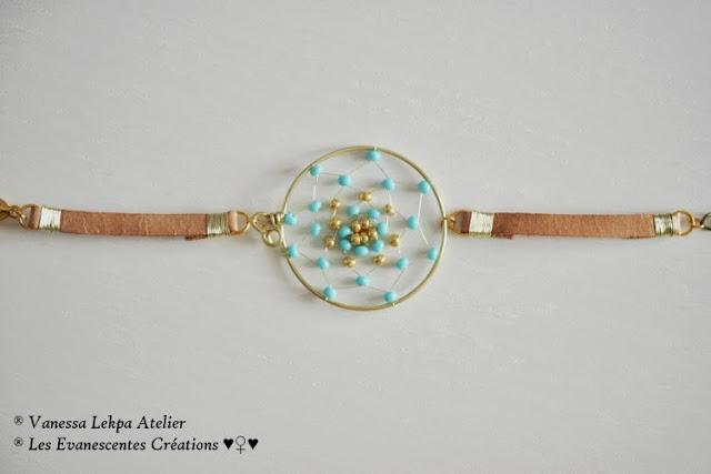 Bijoux attrape rêves bleu fait main dreamcatcher artisanale bijoux contemporain vanessa lekpa