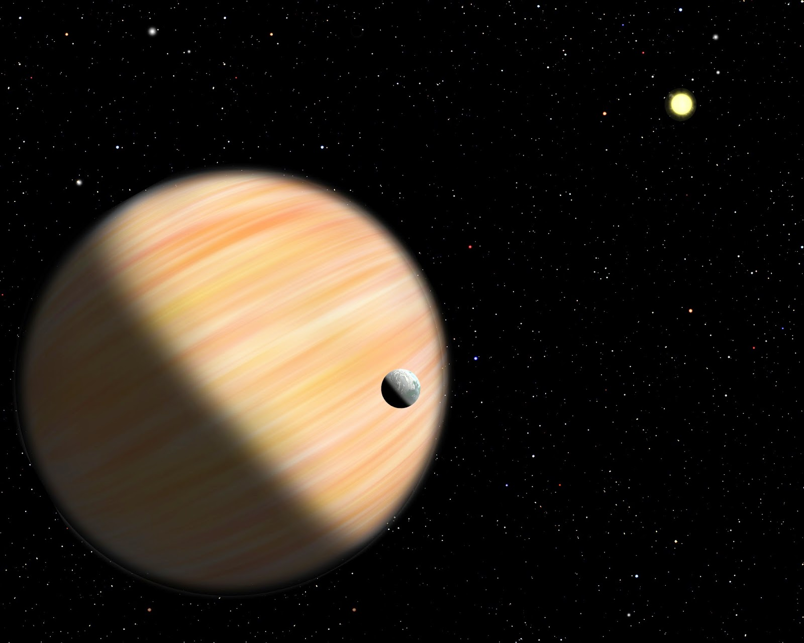 This artist's conception shows a planet half as massive as Jupiter located 13,000 light-years from Earth. It was detected by the Optical Gravitational Lensing Experiment and NASA's Spitzer Space Telescope using microlensing. Spitzer provided parallax measurements that allowed scientists to determine how far away the planet is. Credit: Christine Pulliam (CfA)